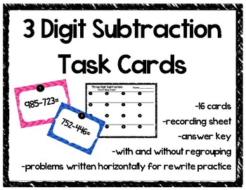 Three Digit Subtraction Task Cards