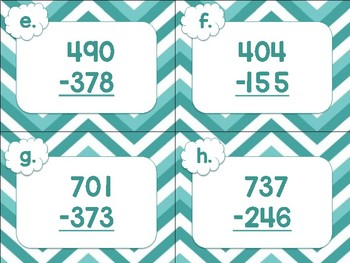 Three-Digit Subtraction Task Cards