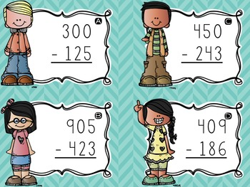 Three-Digit Subtraction Task Cards {Regrouping Across Zeroes}