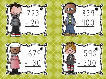 Three-Digit Subtraction Task Cards {Subtracting Tens & Hundreds}