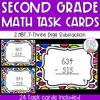 Three Digit Subtraction Task Cards- With and without regrouping