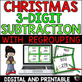 Three-Digit Subtraction WITH regrouping (Christmas)