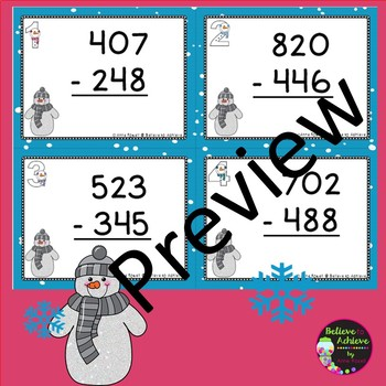 Three-Digit Subtraction WITH regrouping Task Cards (Snowman Theme)
