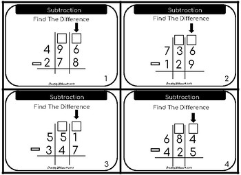 Three Digit Subtraction With Regrouping Differentiated Task Cards