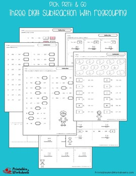 Three Digit Subtraction With Regrouping Worksheets With Answer Keys