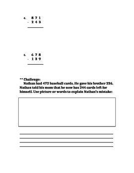 Three Digit Subtraction Word Problem Regroup Tens