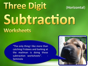 Three Digit Subtraction Worksheets - 15 Pages (Horizontal)