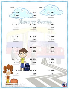 Three Digit Subtraction Worksheets - Back To School Themed - Vertical