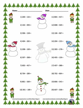 Three Digit Subtraction - Christmas Themed Worksheets - Horizontal