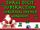 Three Digit Subtraction - Christmas Themed Worksheets - Vertical