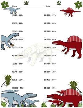 Three Digit Subtraction Worksheets - Dinosaur Themed - Horizontal