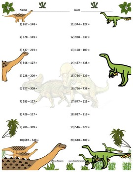 Three Digit Subtraction Worksheets - Dinosaur Themed - Horizontal