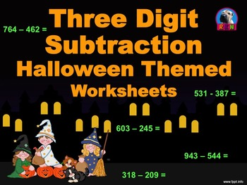 Three Digit Subtraction Worksheets - Halloween Themed - Horizontal