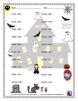 Three Digit Subtraction Worksheets - Halloween Themed - Horizontal