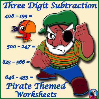 Three Digit Subtraction Worksheets - Pirate Themed - Horiz