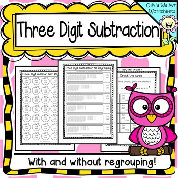 Three Digit Subtraction Worksheets, Printables - With and Without Regrouping