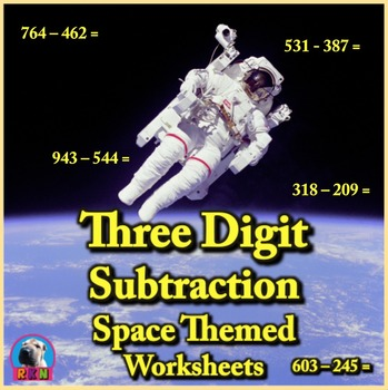 Three Digit Subtraction Worksheets - Space Themed - Horizontal