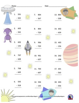 Three Digit Subtraction Worksheets - Space Themed - Vertical