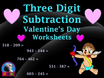Three Digit Subtraction Worksheets - Valentine's Day Themed - Horizontal