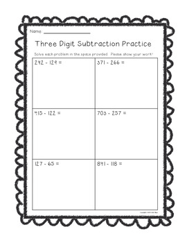 Three Digit Subtraction Worksheets--With Room to Show Work!