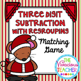 Christmas Three Digit Subtraction with Regrouping Matching Game