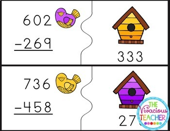 Three Digit Subtraction with Regrouping Matching Game