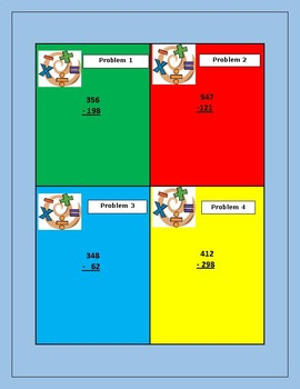 Three Digit Subtraction with Regrouping Task Cards