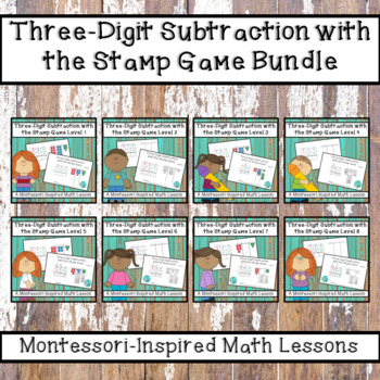 Three-Digit Subtraction with the Montessori Stamp Game Bundle