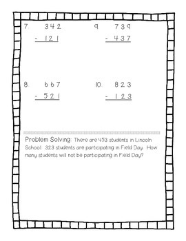 Three Digit Subtraction without Regrouping