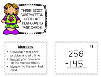 Three-Digit Subtraction without Regrouping Task Cards