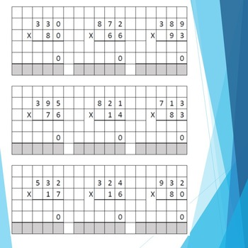 Three Digit by Two Digit Multiplication/Graph Paper: F9 Makes New Worksheet