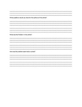 Three Dimensional Learning Response Sheet