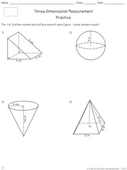 Three-Dimensional Measurement Differentiated Notes and Practice