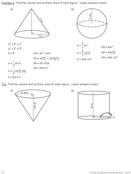 Volume and Surface Area Notes and Practice (Differentiated)
