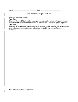 Three Dimensional and Two Dimensional Shapes Tasks