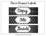 Three Drawer Labels Chalkboard Theme Style (File, Grade, Copy)
