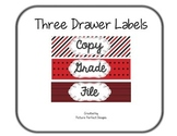 Three Drawer Labels - Red and Black (File, Grade, Copy)