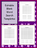 Three Editable Blank Word Search Templates for K/1, 2/3, 4/5