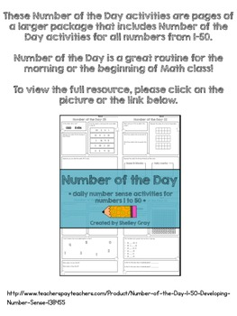 Three FREE Number of the Day Activities {numbers between 1 and 50}
