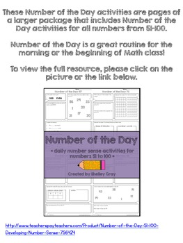 Three FREE Number of the Day Activities {numbers between 51 and 100}