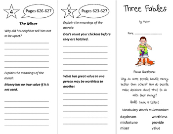 Three Fables Trifold - Imagine It 4th Grade Unit 6 Week 4