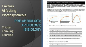 Three Factors Affecting Photosynthesis - Critical Thinking WKSHT