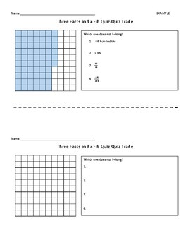Three Facts and a Fib - Decimals/Fractions/Place Value