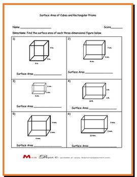 Three Finding the Surface Area of Rectangular Prisms and Cubes w/ Answer Keys