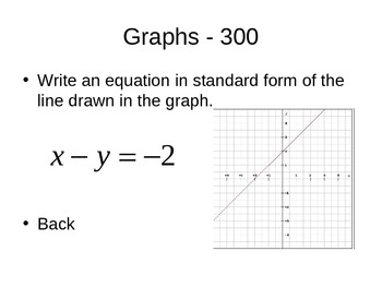 Three Forms of Linear Equations Jeopardy