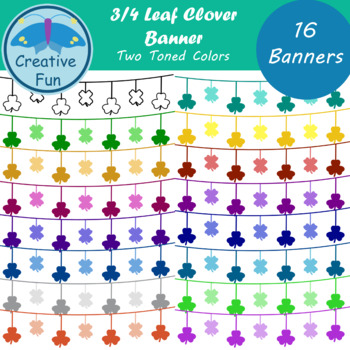 Three Four Leaf Clover Banner Clipart: Two Toned