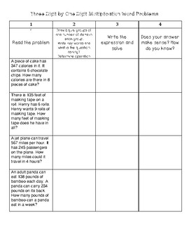 Three/Four digit by One Digit Multiplication No Prep Activities