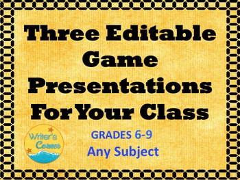 Three Classroom Games: Digital Editable Questions, End of