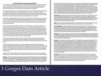 Three Gorges Dam Article and Pros/Cons Lesson