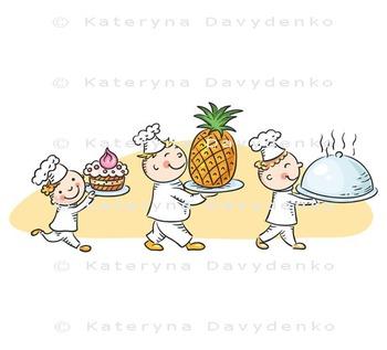 Three Happy Cartoon Cooks